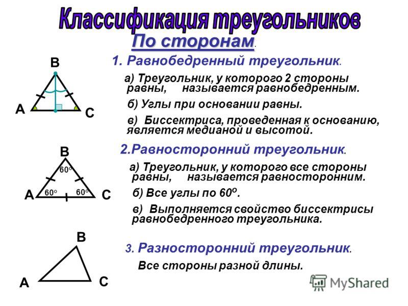 По сторонам По сторонам. A С B C B A 60 o C B A 1.Равнобедренный треугольник. а) Треугольник, у которого 2 стороны равны, называется равнобедренным. б) Углы при основании равны. в) Биссектриса, проведенная к основанию, является медианой и высотой. 2.