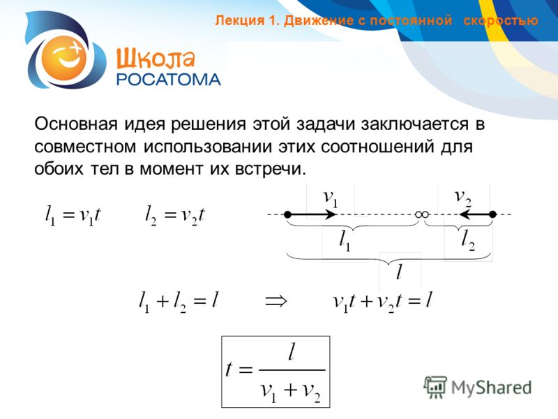 Основная идея решения этой задачи заключается в совместном использовании этих соотношений для обоих тел в момент их встречи. Лекция 1. Движение с постоянной скоростью