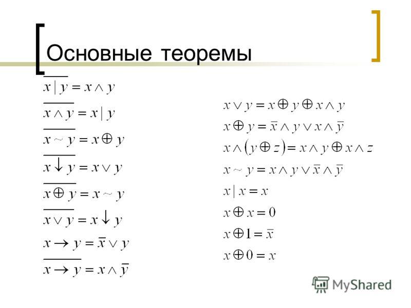 Основные теоремы