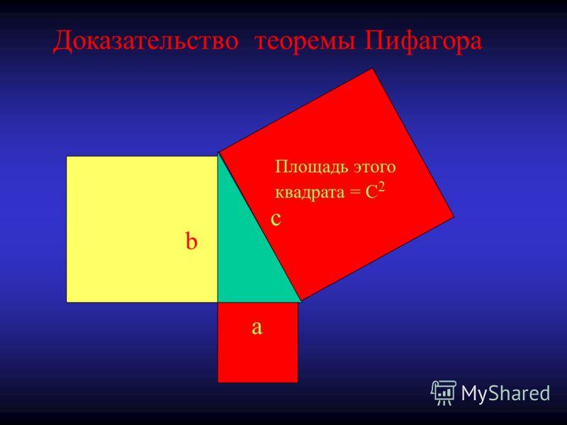 c a b Доказательство теоремы Пифагора Площадь этого квадрата = C 2