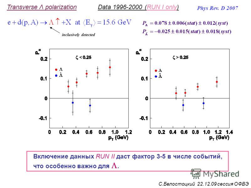 inclusively detected Phys Rev. D 2007 Transverse Λ polarizationData 1996-2000 (RUN I only) С.Белостоцкий 22.12.09 сессия ОФВЭ Включение данных RUN II даст фактор 3-5 в числе событий, что особенно важно для.