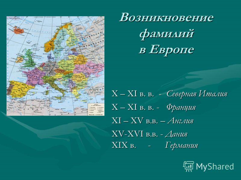 Возникновение фамилий в Европе Х – ХI в. в. - Северная Италия Х – ХI в. в. - Франция ХI – ХV в.в. – Англия ХV-ХVI в.в. - Дания ХIХ в. - Германия