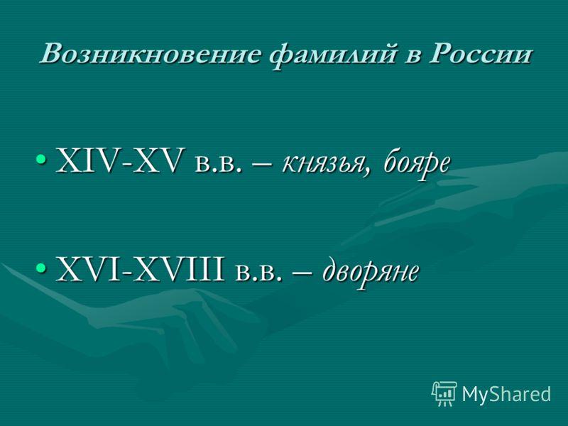 Возникновение фамилий в России ХIV-ХV в.в. – князья, бояреХIV-ХV в.в. – князья, бояре ХVI-ХVIII в.в. – дворянеХVI-ХVIII в.в. – дворяне