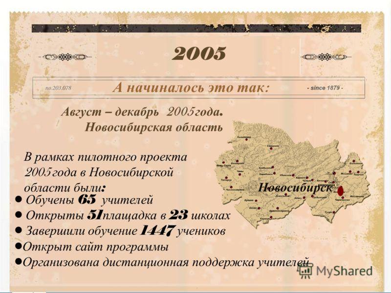 Copyright © 2006, Intel Corporation. All rights reserved. Август – декабрь 2005 года. Новосибирская область 2005 А начиналось это так : Новосибирск В рамках пилотного проекта 2005 года в Новосибирской области были : Обучены 65 учителей Открыты 51 пла