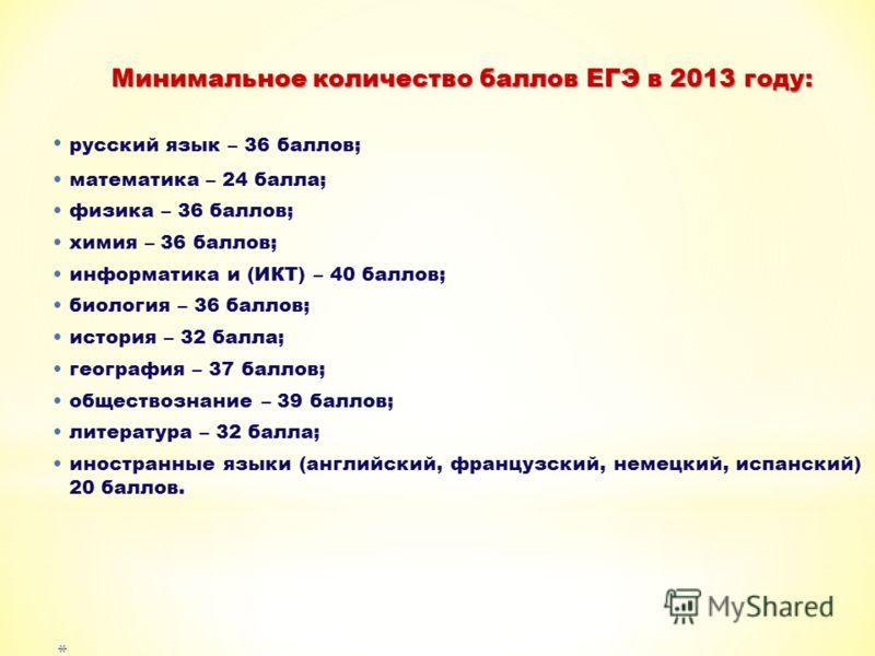 Минимальное количество баллов ЕГЭ в 2013 году: русский язык – 36 баллов; математика – 24 балла; физика – 36 баллов; химия – 36 баллов; информатика и (ИКТ) – 40 баллов; биология – 36 баллов; история – 32 балла; география – 37 баллов; обществознание –