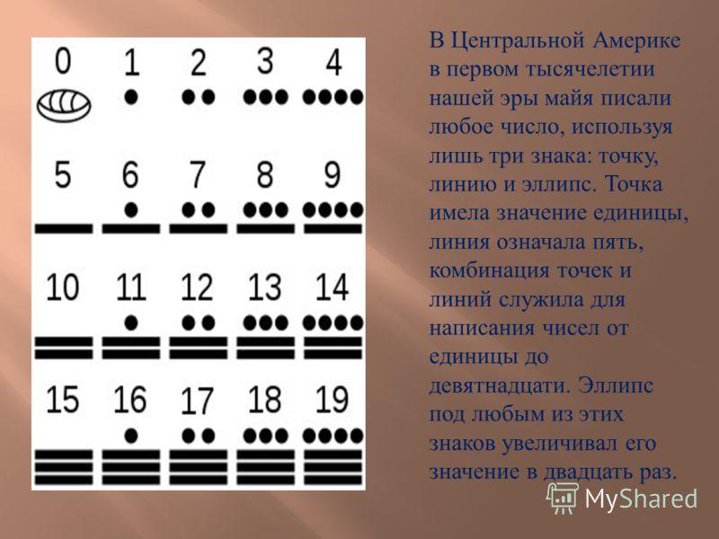 В Центральной Америке в первом тысячелетии нашей эры майя писали любое число, используя лишь три знака : точку, линию и эллипс. Точка имела значение единицы, линия означала пять, комбинация точек и линий служила для написания чисел от единицы до девя