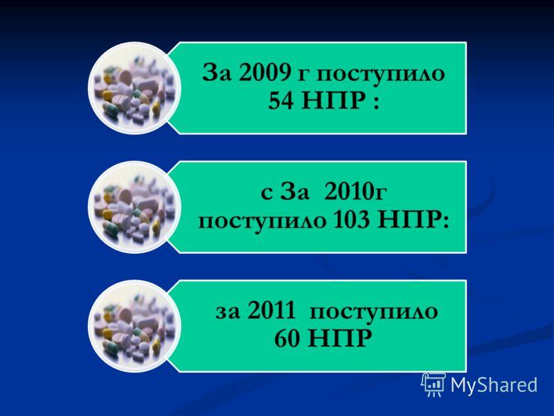 За 2009 г поступило 54 НПР : с За 2010г поступило 103 НПР: за 2011 поступило 60 НПР