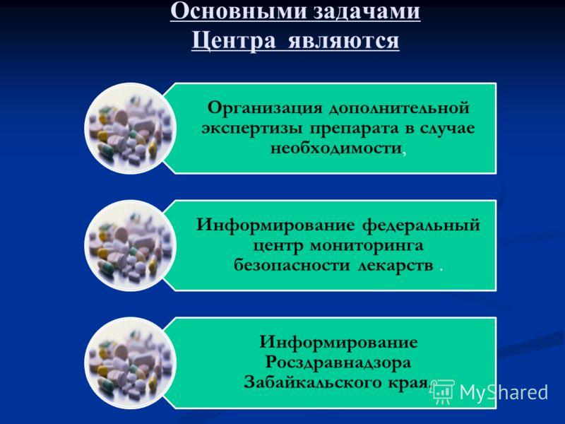Основными задачами Центра являются Организация дополнительной экспертизы препарата в случае необходимости, Информирование федеральный центр мониторинга безопасности лекарств. Информирование Росздравнадзора Забайкальского края.