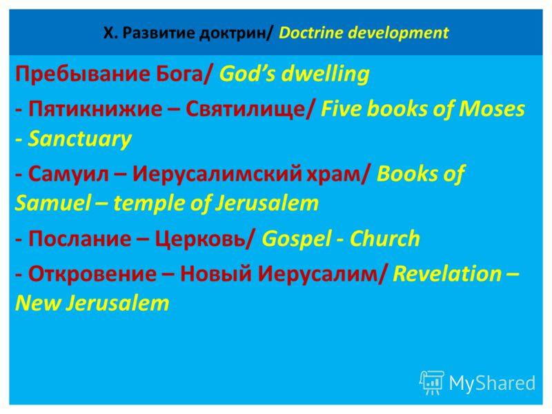 Х. Развитие доктрин/ Doctrine development Пребывание Бога/ Gods dwelling - Пятикнижие – Святилище/ Five books of Moses - Sanctuary - Самуил – Иерусалимский храм/ Books of Samuel – temple of Jerusalem - Послание – Церковь/ Gospel - Church - Откровение