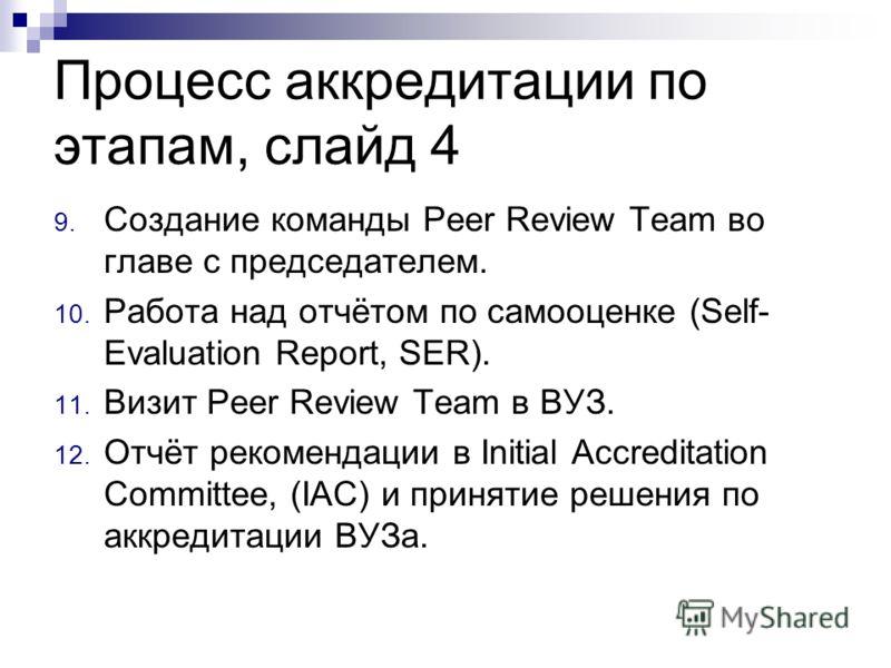 Процесс аккредитации по этапам, слайд 4 9. Создание команды Peer Review Team во главе с председателем. 10. Работа над отчётом по самооценке (Self- Evaluation Report, SER). 11. Визит Peer Review Team в ВУЗ. 12. Отчёт рекомендации в Initial Accreditati