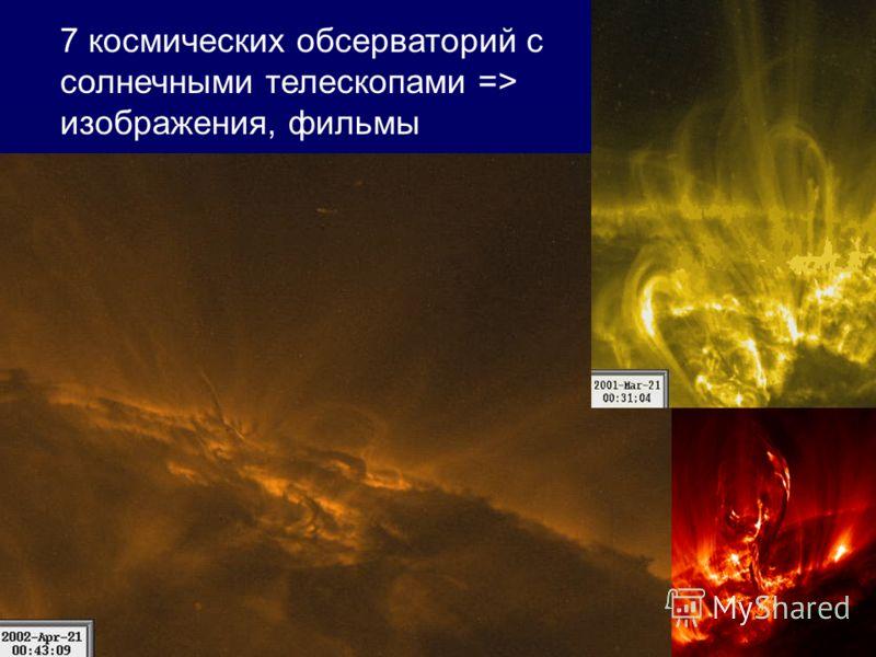 7 космических обсерваторий с солнечными телескопами => изображения, фильмы