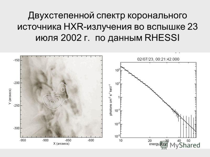 Двухстепенной спектр коронального источника HXR-излучения во вспышке 23 июля 2002 г. по данным RHESSI