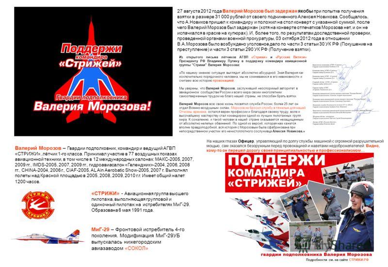 «СТРИЖИ» - Авиационная группа высшего пилотажа, выполняющая групповой и одиночный пилотаж на истребителях МиГ-29. Образована 6 мая 1991 года. МиГ-29 – Фронтовой истребитель 4-го поколения. Модификация МиГ-29УБ выпускалась нижегородским авиазаводом «С