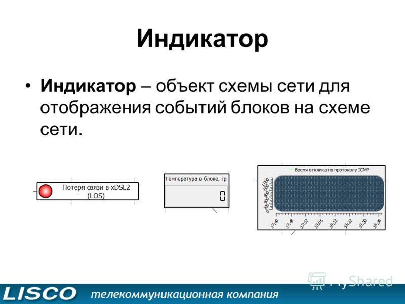 Индикатор Индикатор – объект схемы сети для отображения событий блоков на схеме сети.