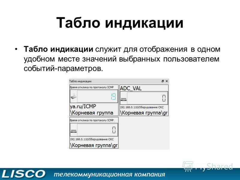 Табло индикации Табло индикации служит для отображения в одном удобном месте значений выбранных пользователем событий-параметров.