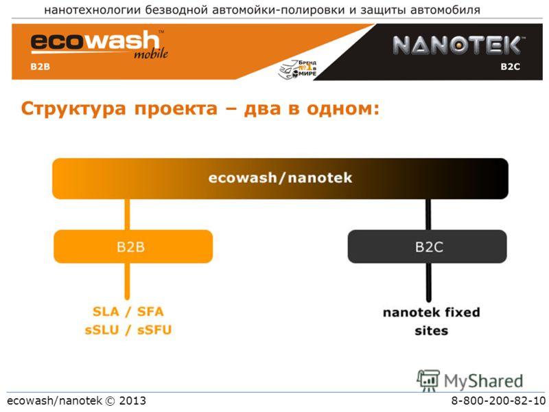 ecowash/nanotek © 2013 8-800-200-82-10 Структура проекта – два в одном: