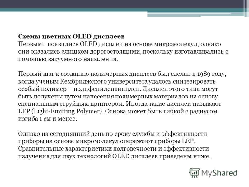 Схемы цветных OLED дисплеев Первыми появились OLED дисплеи на основе микромолекул, однако они оказались слишком дорогостоящими, поскольку изготавливались с помощью вакуумного напыления. Первый шаг к созданию полимерных дисплеев был сделан в 1989 году