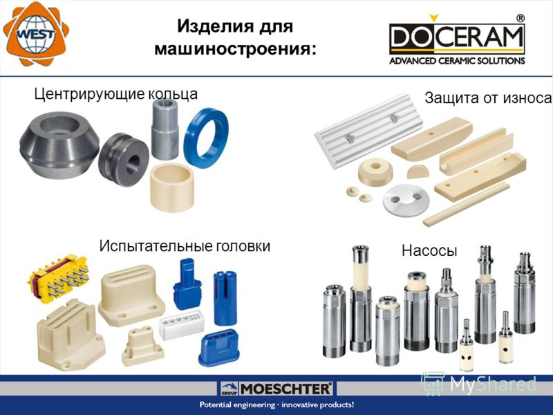 Изделия для машиностроения: Центрирующие кольца Защита от износа Испытательные головки Насосы