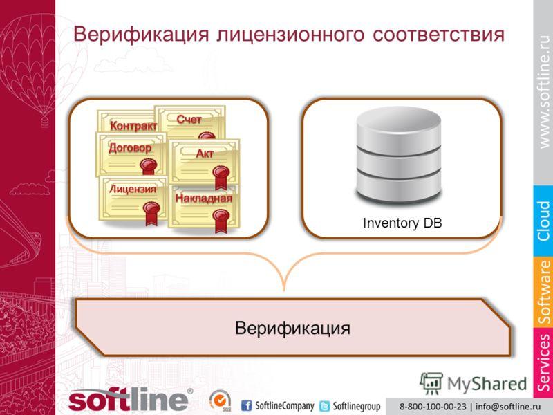 Верификация лицензионного соответствия B Верификация Inventory DB