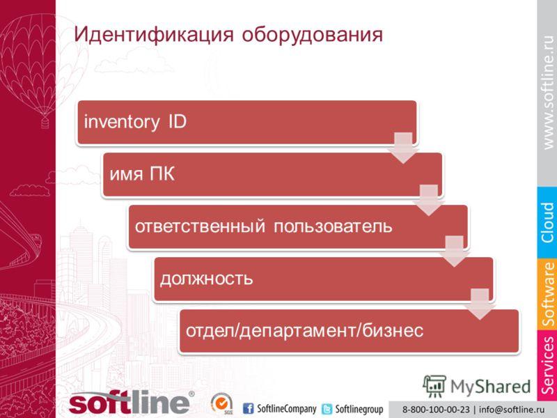 Идентификация оборудования inventory IDимя ПКответственный пользовательдолжностьотдел/департамент/бизнес