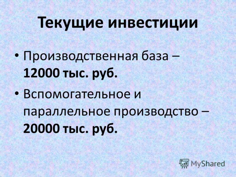 Текущие инвестиции Производственная база – 12000 тыс. руб. Вспомогательное и параллельное производство – 20000 тыс. руб.