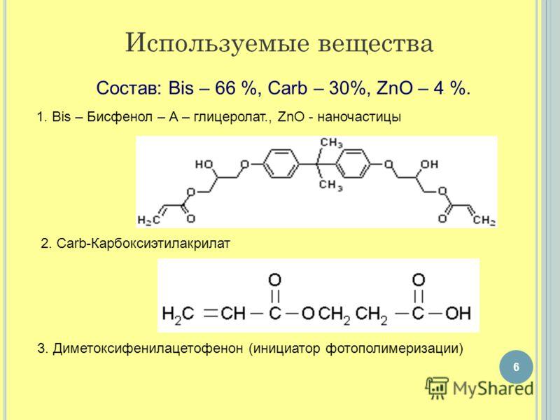 Состав: Bis – 66 %, Carb – 30%, ZnO – 4 %. 1. Bis – Бисфенол – А – глицеролат., ZnO - наночастицы Используемые вещества 2. Carb-Карбоксиэтилакрилат 6 3. Диметоксифенилацетофенон (инициатор фотополимеризации)