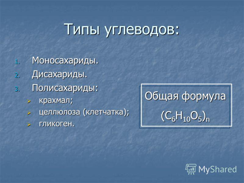 Типы углеводов: 1. М оносахариды. 2. Д исахариды. 3. П олисахариды: крахмал; целлюлоза (клетчатка); гликоген. Общая формула (С 6 Н 10 О 5 ) n