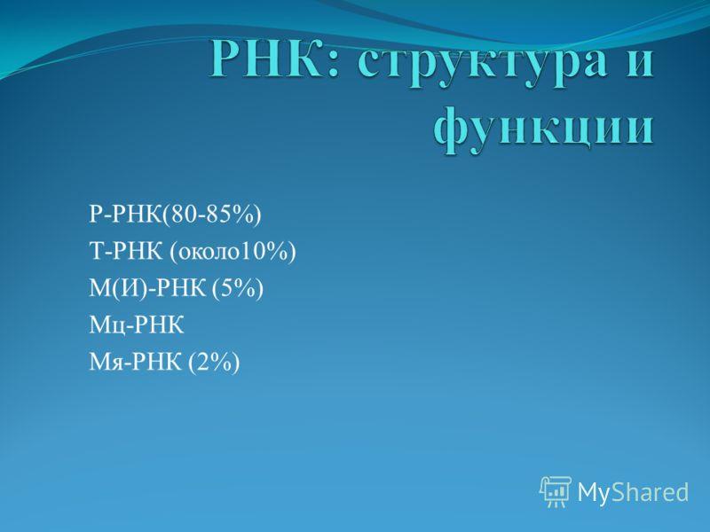 Р-РНК(80-85%) Т-РНК (около10%) М(И)-РНК (5%) Мц-РНК Мя-РНК (2%)