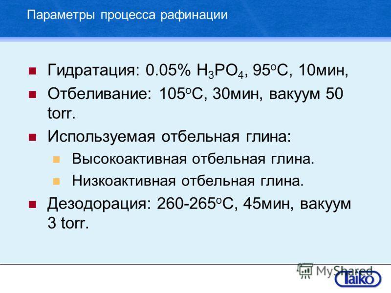 Параметры процесса рафинации Гидратация: 0.05% H 3 PO 4, 95 o C, 10мин, Отбеливание: 105 o C, 30мин, вакуум 50 torr. Используемая отбельная глина: Высокоактивная отбельная глина. Низкоактивная отбельная глина. Дезодорация: 260-265 o C, 45мин, вакуум