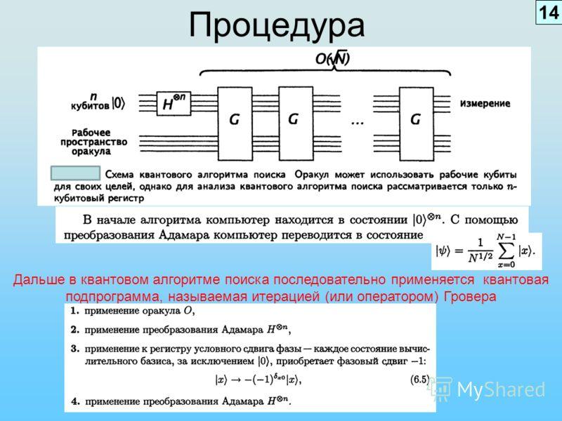 Процедура Дальше в квантовом алгоритме поиска последовательно применяется квантовая подпрограмма, называемая итерацией (или оператором) Гровера 14