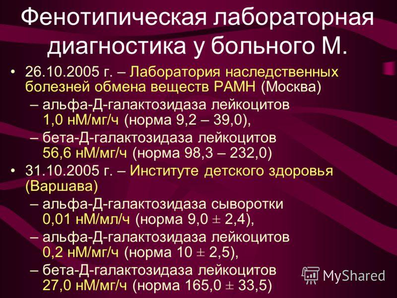Фенотипическая лабораторная диагностика у больного М. 26.10.2005 г. – Лаборатория наследственных болезней обмена веществ РАМН (Москва) –альфа-Д-галактозидаза лейкоцитов 1,0 нМ/мг/ч (норма 9,2 – 39,0), –бета-Д-галактозидаза лейкоцитов 56,6 нМ/мг/ч (но