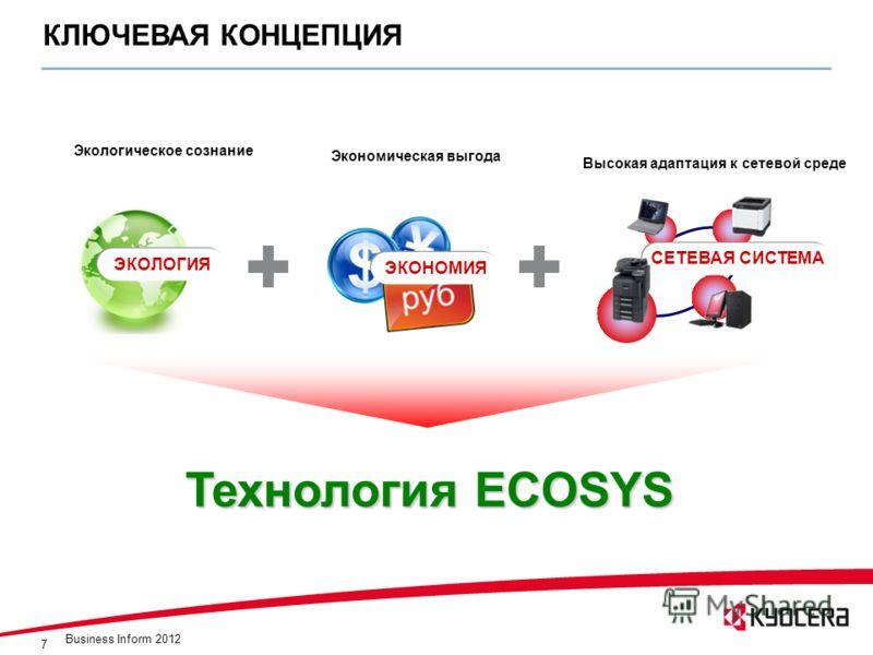 7 КЛЮЧЕВАЯ КОНЦЕПЦИЯ Экономическая выгода Экологическое сознание Высокая адаптация к сетевой среде ЭКОНОМИЯ ЭКОЛОГИЯ СЕТЕВАЯ СИСТЕМА Технология ECOSYS Business Inform 2012
