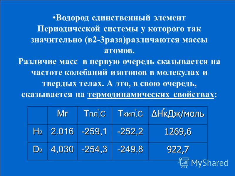 Водород единственный элемент Периодической системы у которого так значительно (в2-3раза)различаются массы атомов. Различие масс в первую очередь сказывается на частоте колебаний изотопов в молекулах и твердых телах. А это, в свою очередь, сказывается