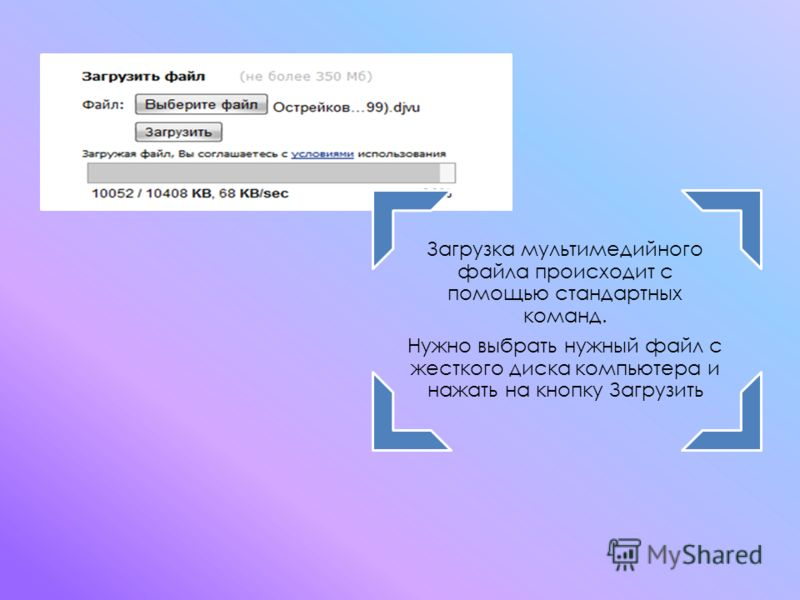 Загрузка мультимедийного файла происходит с помощью стандартных команд. Нужно выбрать нужный файл с жесткого диска компьютера и нажать на кнопку Загрузить