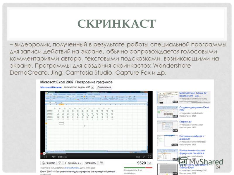 – видеоролик, полученный в результате работы специальной программы для записи действий на экране, обычно сопровождается голосовыми комментариями автора, текстовыми подсказками, возникающими на экране. Программы для создания скринкастов: Wondershare D