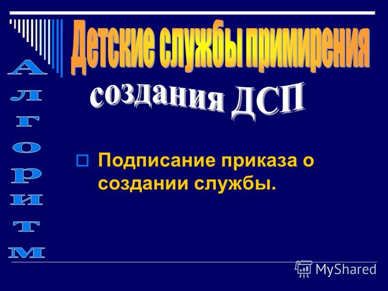 Подписание приказа о создании службы.