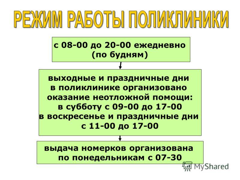 с 08-00 до 20-00 ежедневно (по будням) выходные и праздничные дни в поликлинике организовано оказание неотложной помощи: в субботу с 09-00 до 17-00 в воскресенье и праздничные дни с 11-00 до 17-00 выдача номерков организована по понедельникам с 07-30