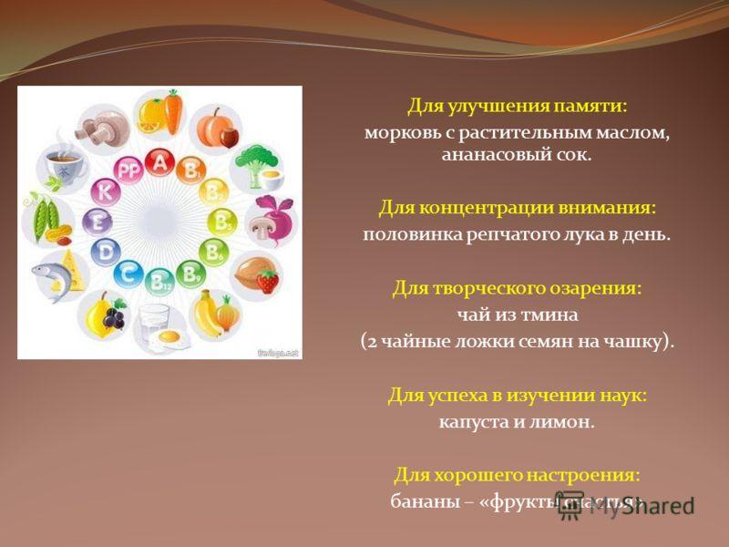 Для улучшения памяти: морковь с растительным маслом, ананасовый сок. Для концентрации внимания: половинка репчатого лука в день. Для творческого озарения: чай из тмина (2 чайные ложки семян на чашку). Для успеха в изучении наук: капуста и лимон. Для