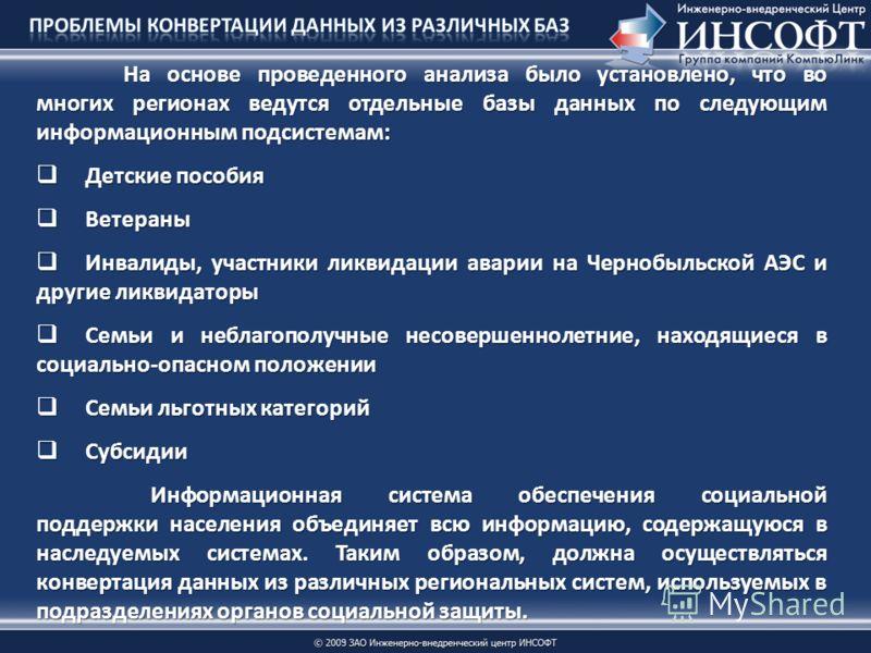 На основе проведенного анализа было установлено, что во многих регионах ведутся отдельные базы данных по следующим информационным подсистемам: Детские пособия Детские пособия Ветераны Ветераны Инвалиды, участники ликвидации аварии на Чернобыльской АЭ