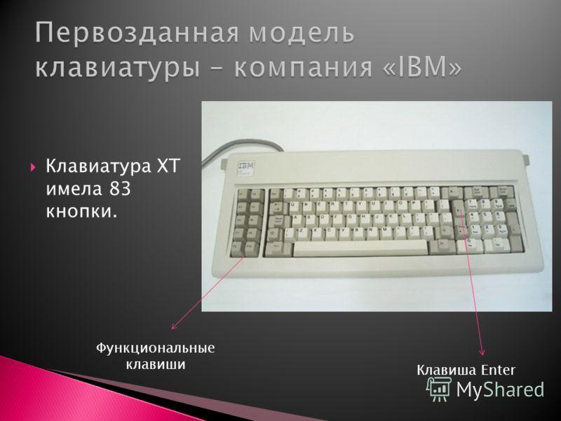 Клавиатура ХТ имела 83 кнопки. Функциональные клавиши Клавиша Enter
