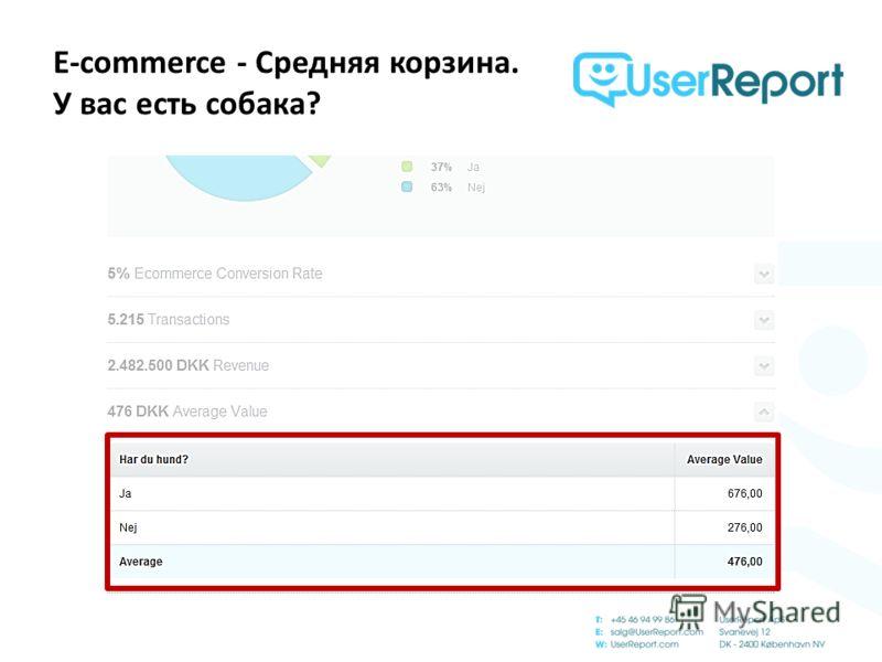 E-commerce - Средняя корзина. У вас есть собака?