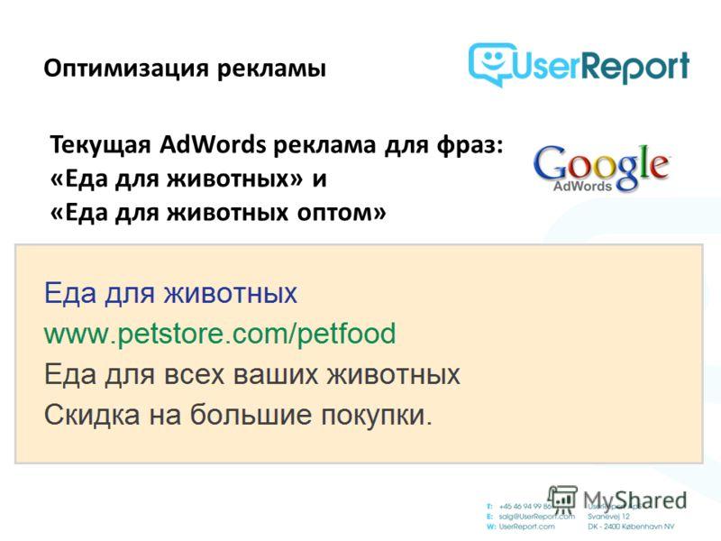 Оптимизация рекламы Текущая AdWords реклама для фраз: «Еда для животных» и «Еда для животных оптом»