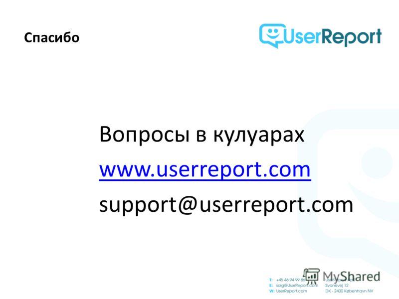 Спасибо Вопросы в кулуарах www.userreport.com support@userreport.com