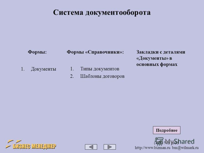 (495) 748 1993 http://www.bizman.ru bm@wilmark.ru Система документооборота Формы: 1.Документы Формы «Справочники»: 1.Типы документов 2.Шаблоны договоров Закладки с деталями «Документы» в основных формах Подробнее