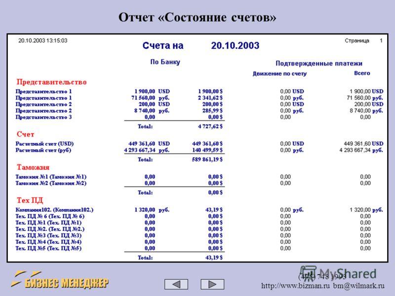 (495) 748 1993 http://www.bizman.ru bm@wilmark.ru Отчет «Состояние счетов»