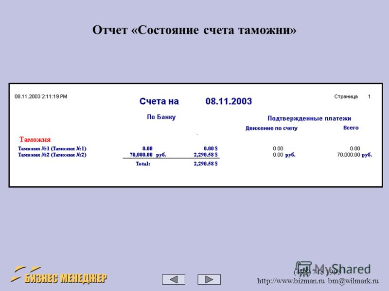 (495) 748 1993 http://www.bizman.ru bm@wilmark.ru Отчет «Состояние счета таможни»