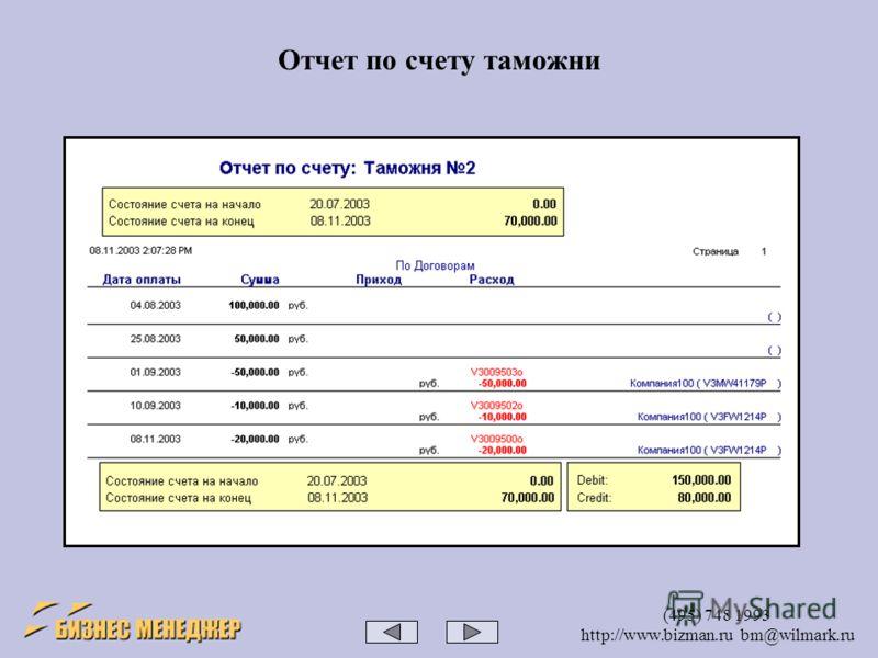 (495) 748 1993 http://www.bizman.ru bm@wilmark.ru Отчет по счету таможни