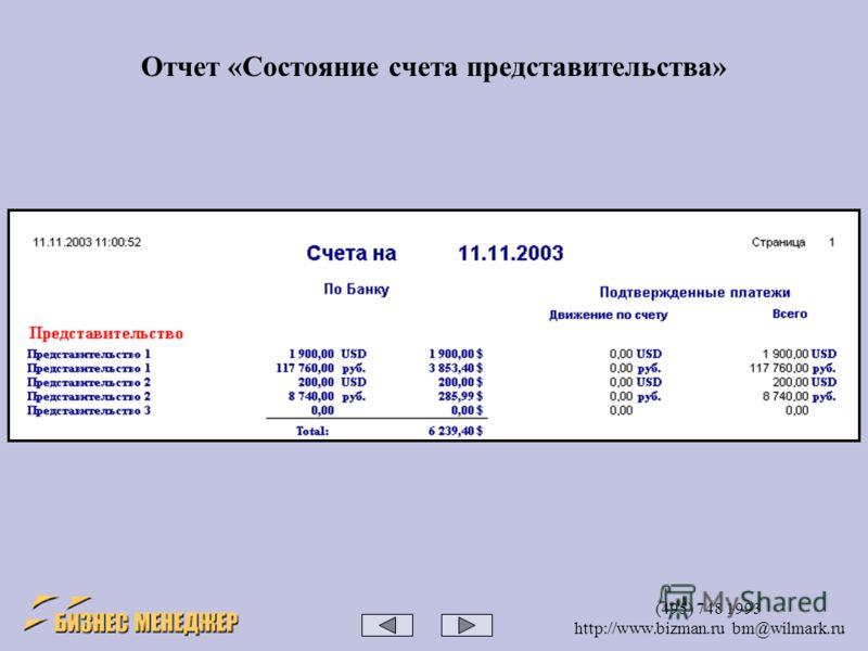 (495) 748 1993 http://www.bizman.ru bm@wilmark.ru Отчет «Состояние счета представительства»