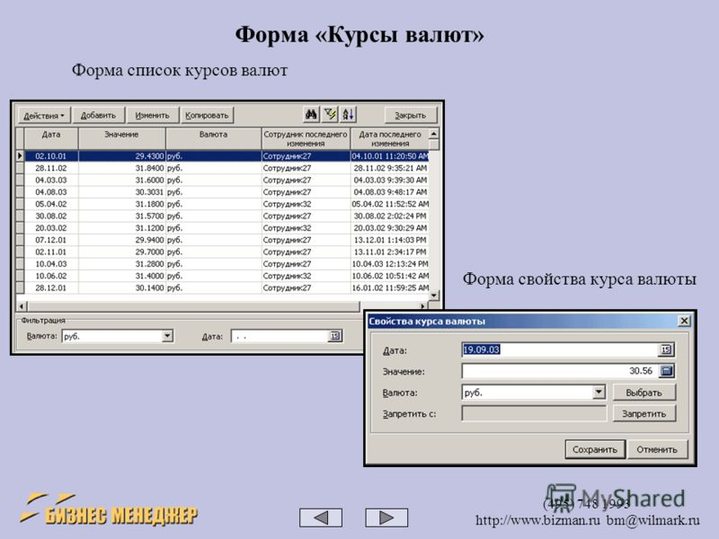 (495) 748 1993 http://www.bizman.ru bm@wilmark.ru Форма «Курсы валют» Форма список курсов валют Форма свойства курса валюты