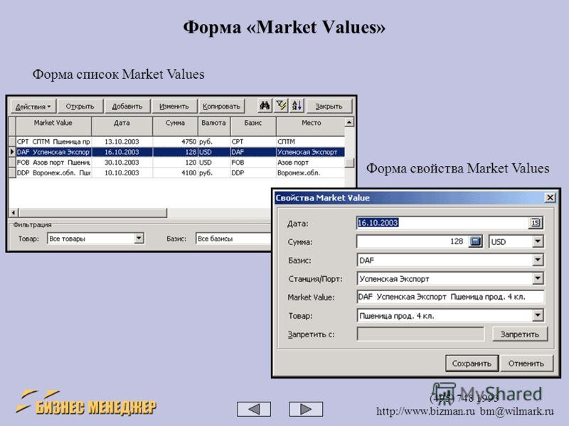 (495) 748 1993 http://www.bizman.ru bm@wilmark.ru Форма «Market Values» Форма список Market Values Форма свойства Market Values
